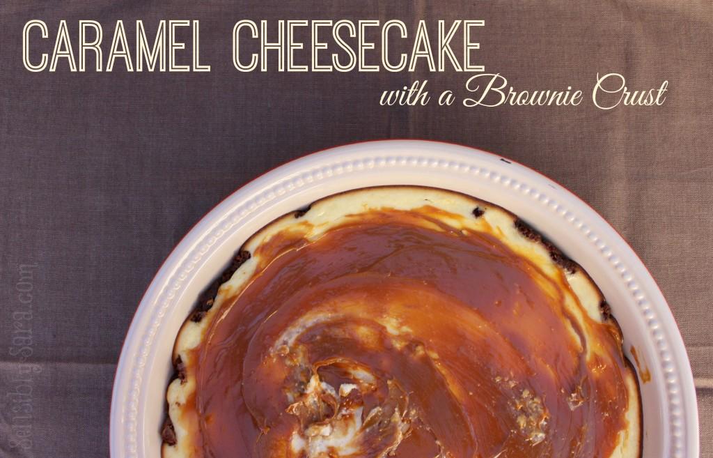 Caramel Cheesecake with a Brownie Crust | SensiblySara.com