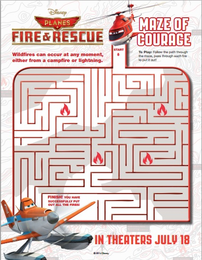 PLANES FIRE AND RESCUE Printable Maze