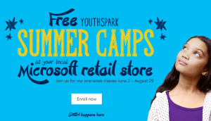 FREE YouthSpark Summer Camps for Kids (8-13) at Microsoft Stores