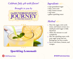 Sparkling Lemonade #Recipe from 'The Hundred Foot Journey' #100FootJourney