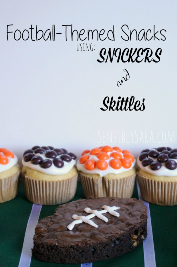 football-themed snacks using Snickers and Skittles #shop | SensiblySara.com