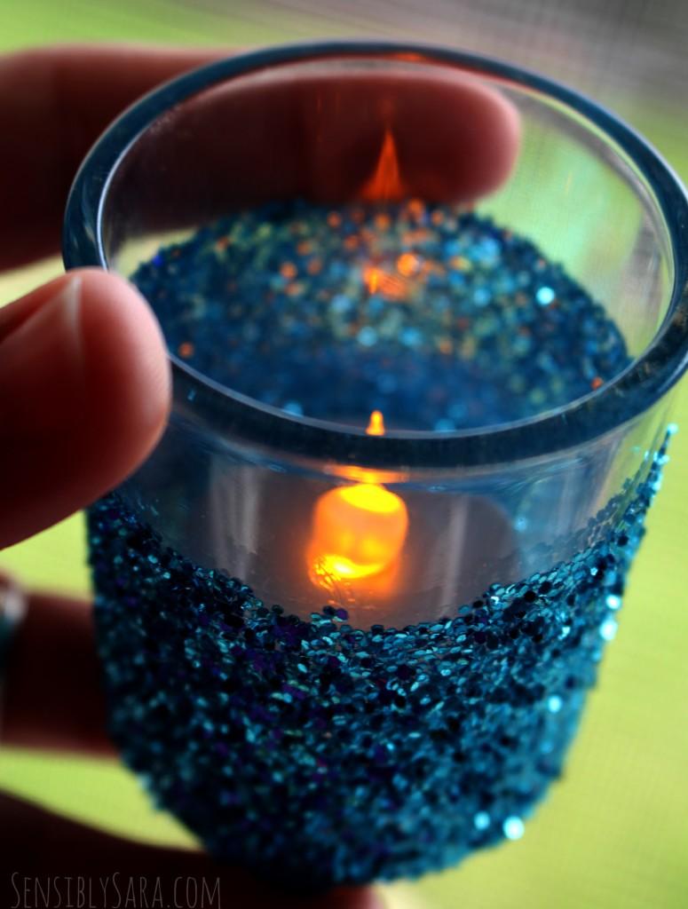 Glitter Candle Holder Close Up | SensiblySara.com