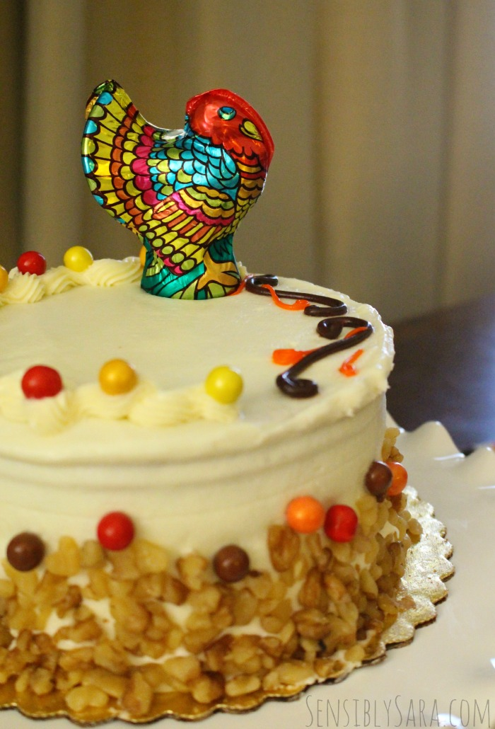 Cute Thanksgiving Carrot Cake with Sweetworks Candies | SensiblySara.com