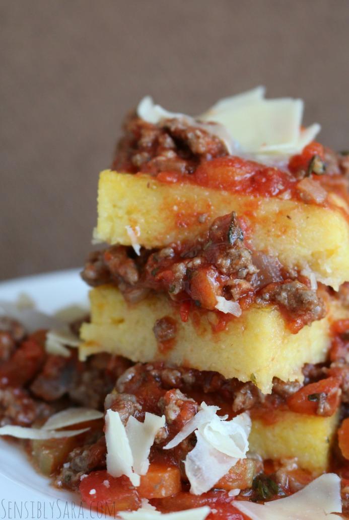 Hearty Dinner Recipe - Polenta Bolognese | SensiblySara.com