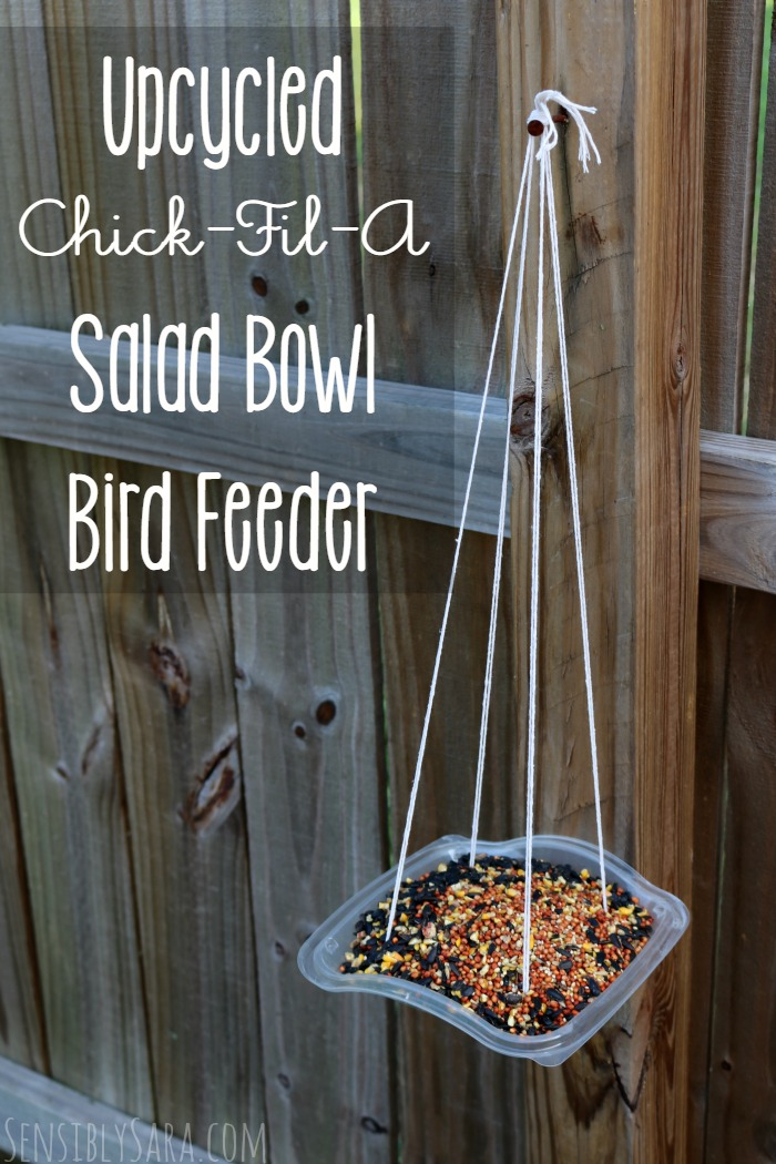 Upcycled Bird Feeder with a Chick-Fil-A Salad Bowl | SensiblySara.com