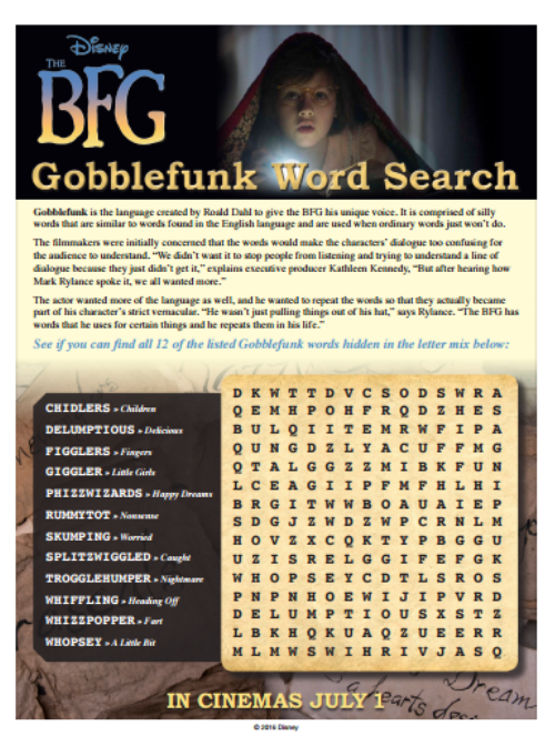 The BFG Word Search