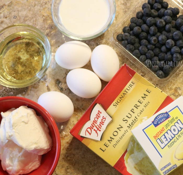 Ingredients for a Lemon Blueberry Cake | SensiblySara.com