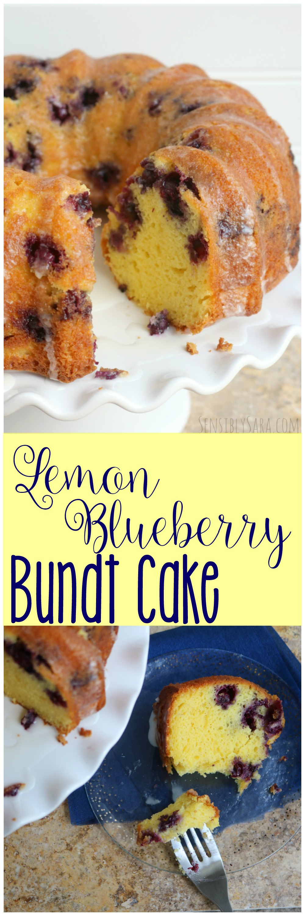 Lemon Blueberry Bundt Cake Recipe | SensiblySara.com