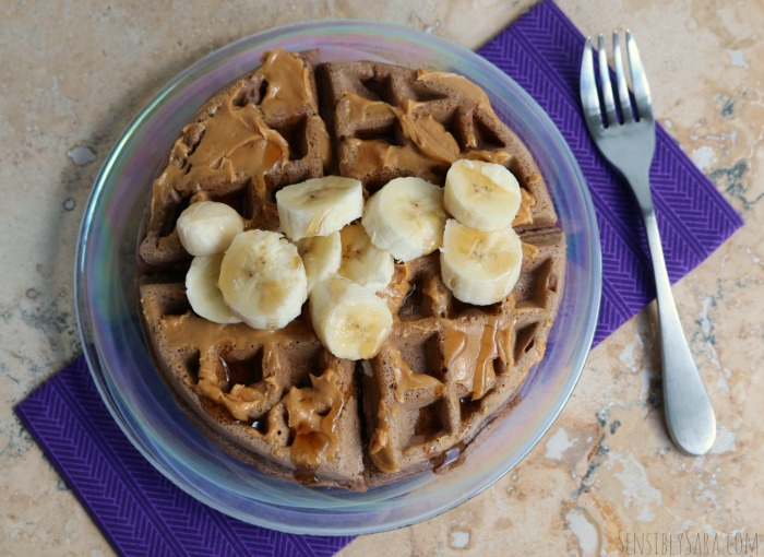 Chocolate Waffles with Peanut Butter and Bananas | SensiblySara.com