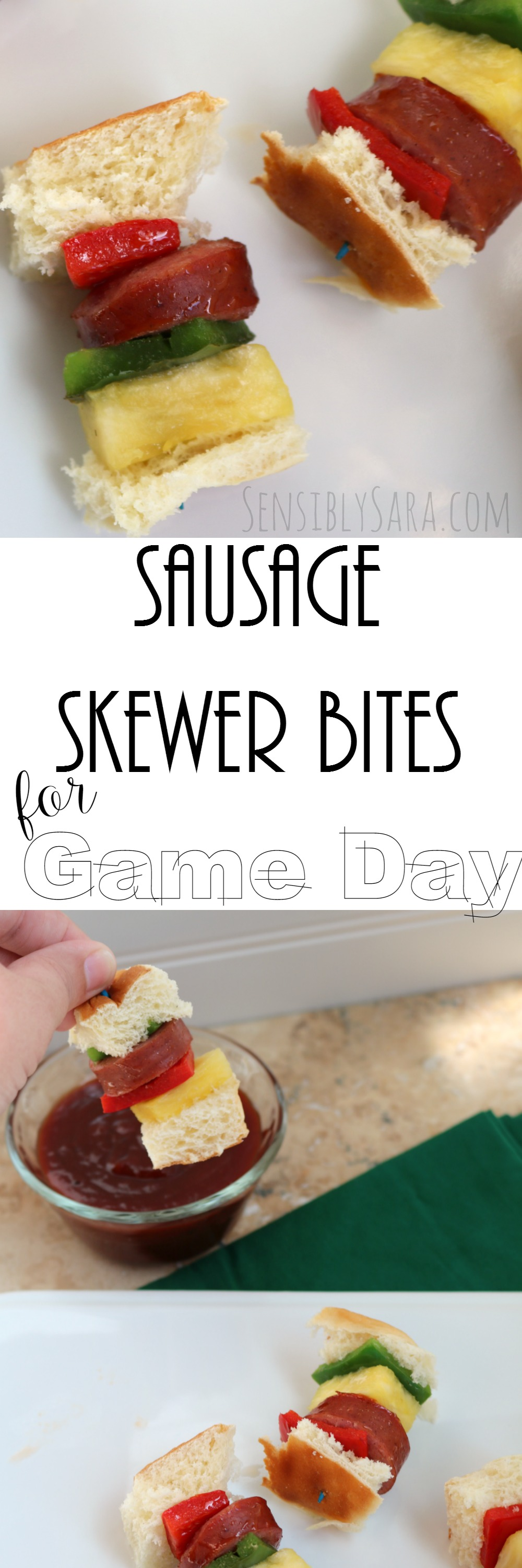 Sausage Skewer Bites with KING'S HAWAIIAN® | SensiblySara.com