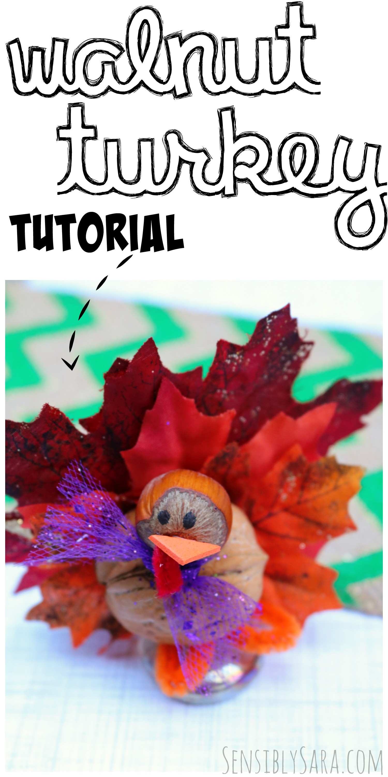 Walnut Turkey Tutorial - Easy Fall Craft for Thanksgiving | SensiblySara.com