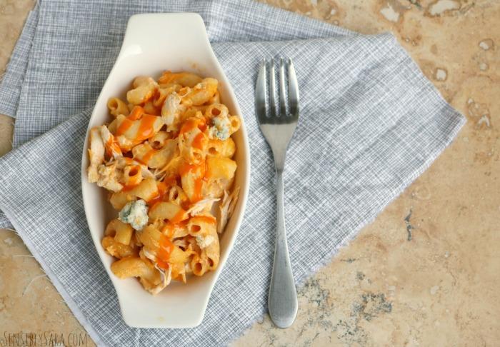 Buffalo Chicken Mac and Cheese Casserole | SensiblySara.com