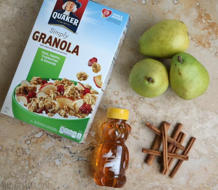 Baked Pears with Granola Snack | SensiblySara.com