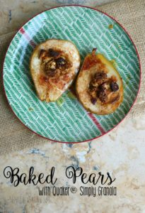 Baked Pears with Quaker® Simply Granola and Cinnamon Honey [ad] #SimplySatisfying