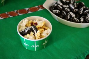 Game Day Popcorn Bar with Chocolate Almond Footballs