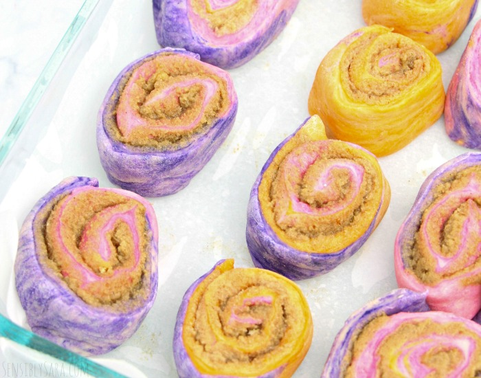 unicorn cinnamon rolls - ready to cook | SensiblySara.com