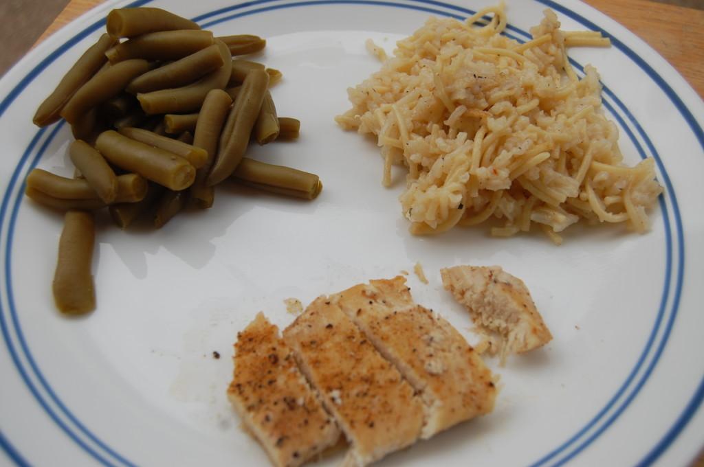 Chicken, Homemade Rice a Roni, Libby's Green Beans | SensiblySara.com