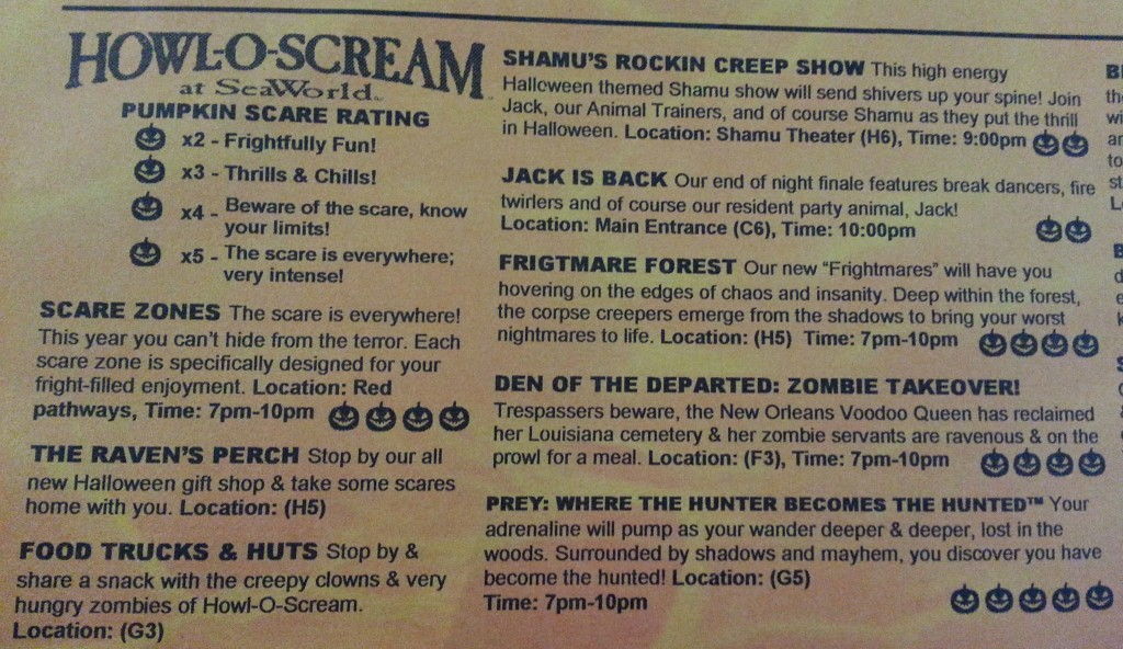 List of Howl-O-Scream Haunts