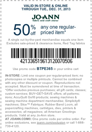 Printable Jo-Ann Coupon - December