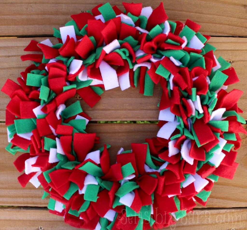 Fleece Rag Wreath And Rudolph Mason Jar Craft
