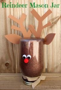 Christmas Fleece Rag Wreath and Rudolph Mason Jar Craft #FabulouslyFestive