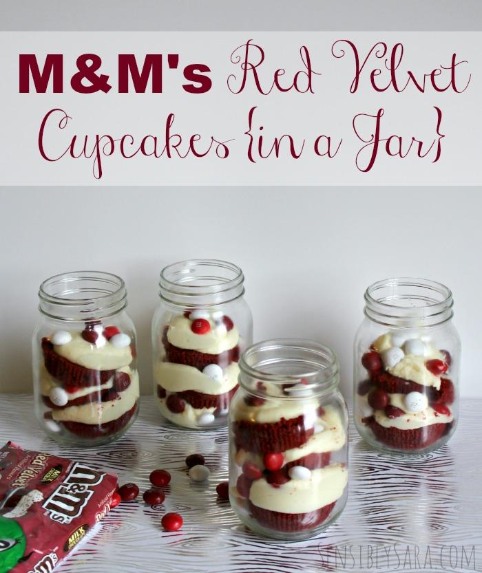 M&M's Red Velvet Cupcakes in a Jar | SensiblySara.com