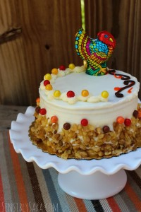 Cute Fall Carrot Cake with Chocolate Turkey [AD] #SweetworksAutumn