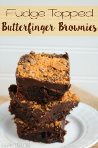 Fudge Topped Butterfinger Brownies [AD] #mixinmoments
