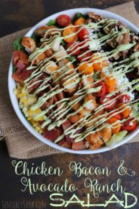 AD: Chicken Bacon and Avocado Ranch Salad Recipe #SchoolFuel