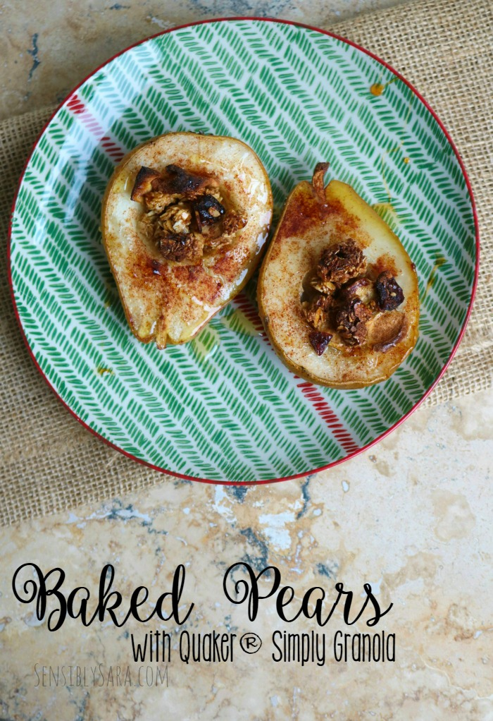 Baked Pears with Quaker® Simply Granola and Cinnamon Honey | SensiblySara.com