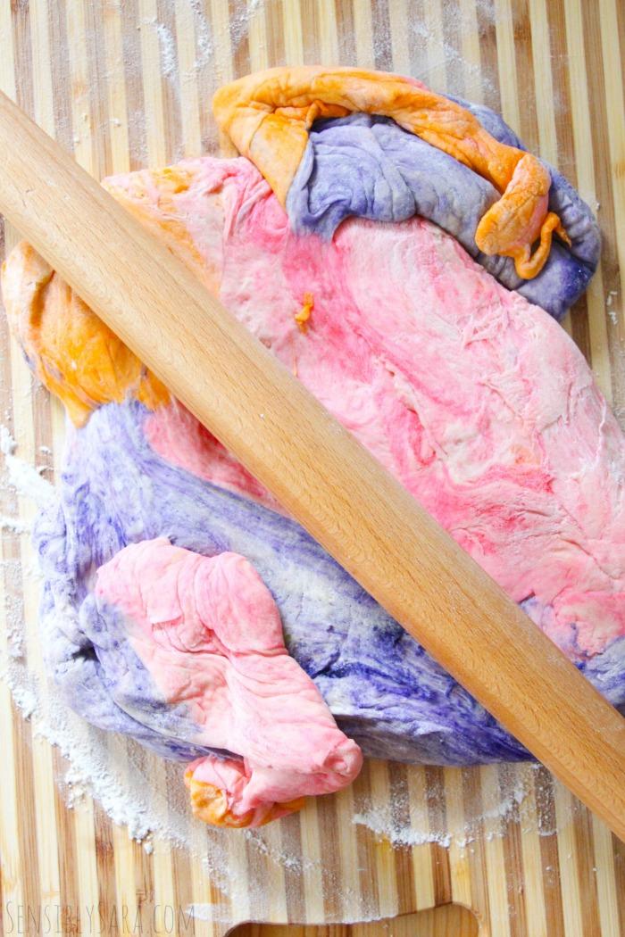 unicorn cinnamon rolls - dough on board | SensiblySara.com
