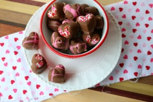 Chocolate Covered Hearts with Peanut Butter Marshmallow Fluff