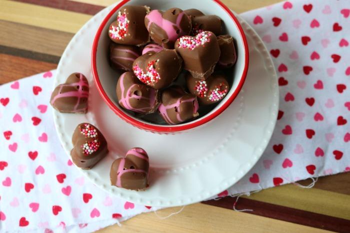 Chocolate Covered Peanut Butter Hearts | SensiblySara.com