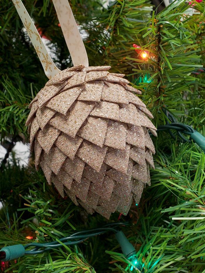 No Sew DIY Fabric Pine Cone Tutorial