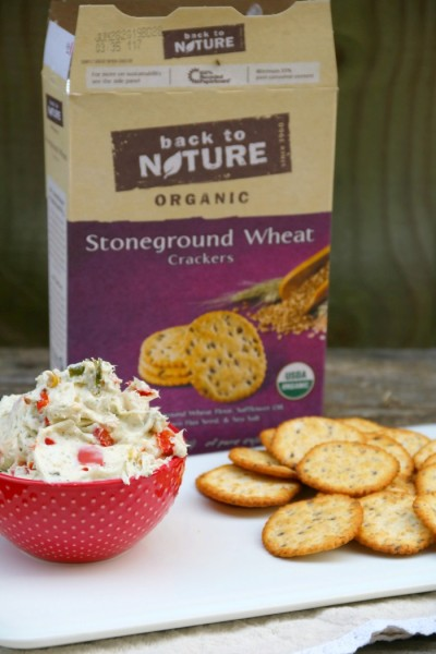 Roasted Vegetable Ranch Dip Recipe with Back to Nature Crackers | SensiblySara.com