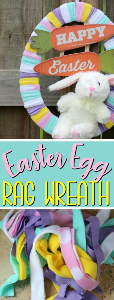 Easter Egg Rag Wreath | SensiblySara.com