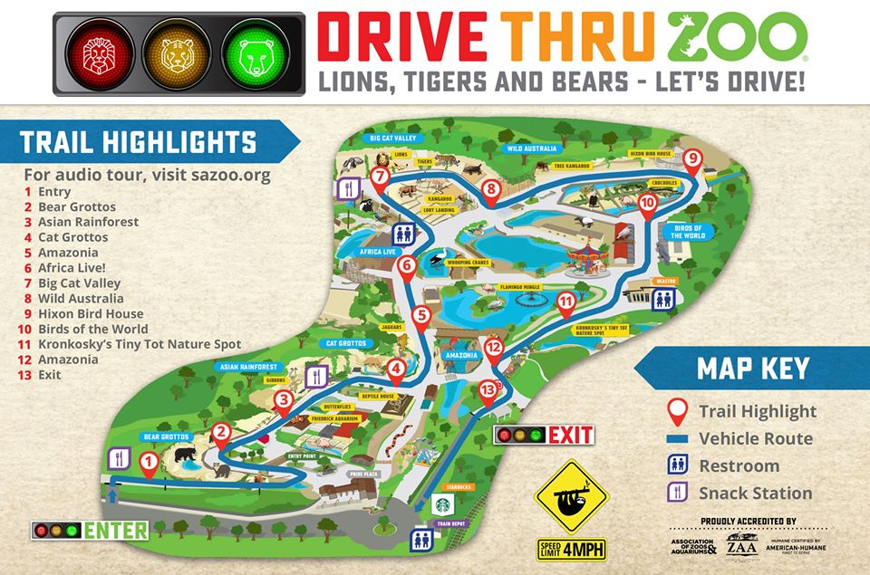 Drive Thru Zoo Route San Antonio