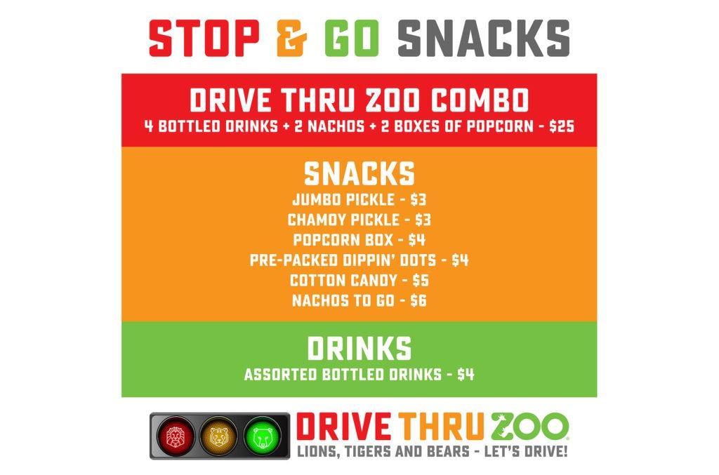 Drive Thru Zoo Snack Menu at the San Antonio Zoo