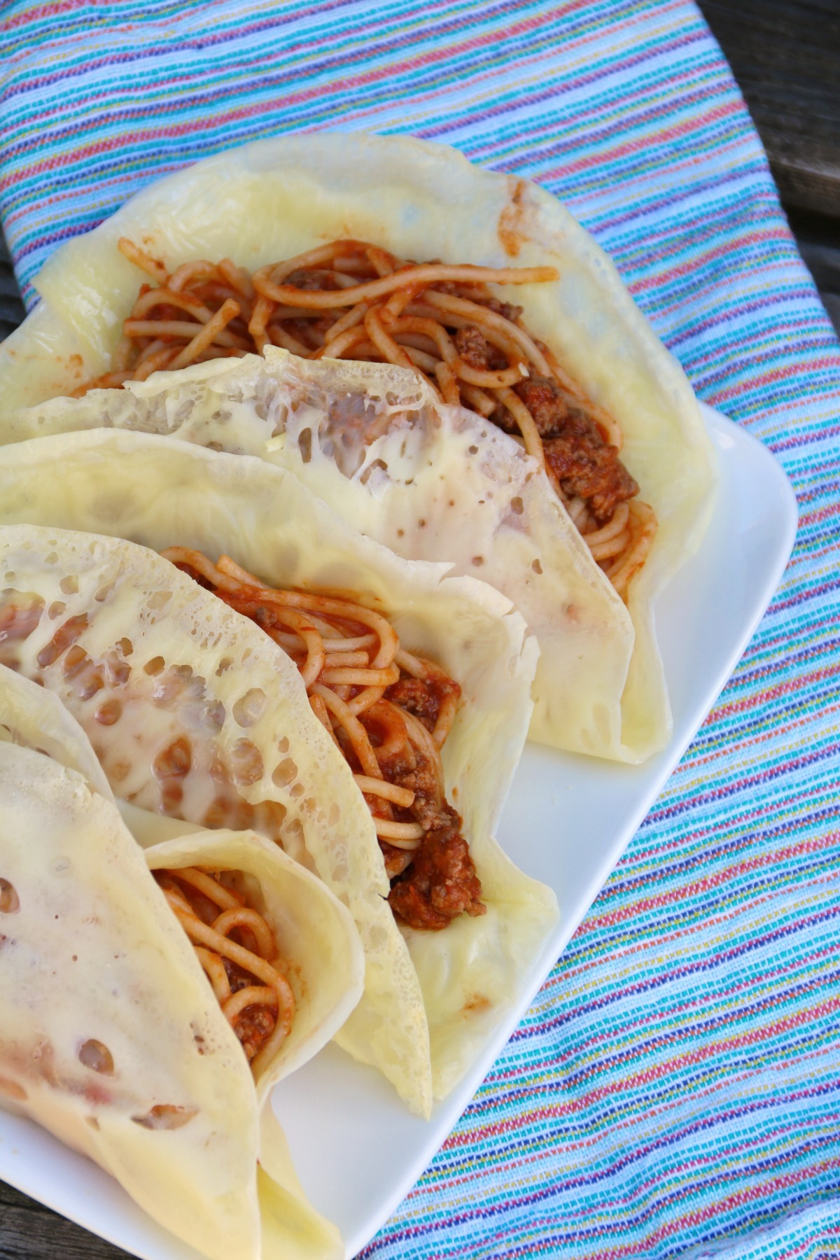 Spaghetti Tacos With Parmesan Shells As Appetizers Or For Dinner