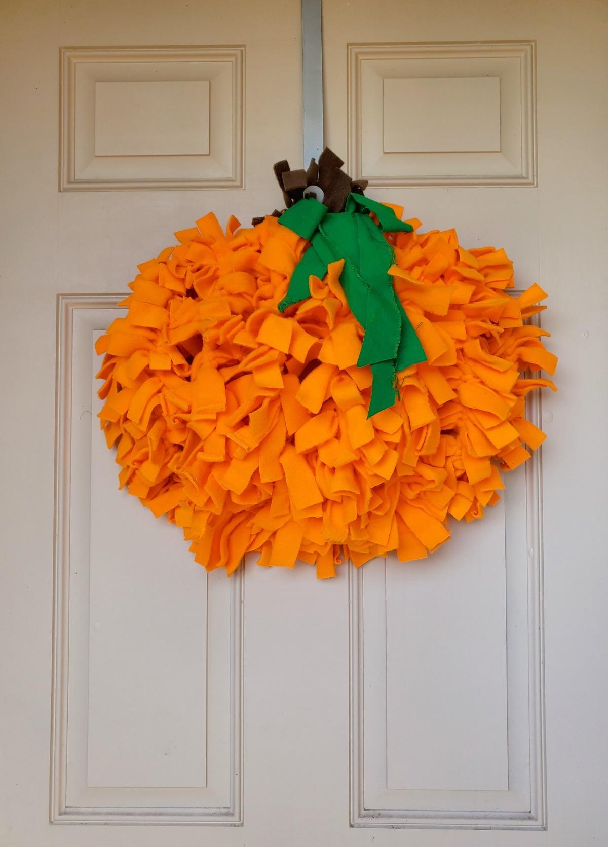 Pumpkin Shaped Rag Wreath For Fall A Craft Tutorial